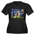 Starry Night / Saluki Women's Plus Size V-Neck Dar
