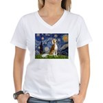 Starry Night / Saluki Women's V-Neck T-Shirt