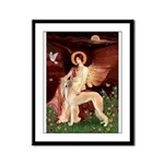 Seated Angel / Saluki Framed Panel Print