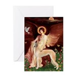 Seated Angel / Saluki Greeting Card