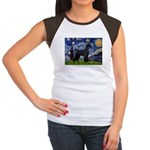 Starry Night / Schnauzer Women's Cap Sleeve T-Shir
