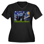 Starry Night / Schnauzer Women's Plus Size V-Neck