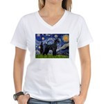 Starry Night / Schnauzer Women's V-Neck T-Shirt