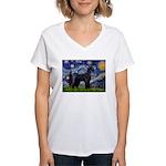 Starry Night / Schnauzer Women's V-Neck T-Shirt