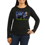 Starry Night / Schnauzer Women's Long Sleeve Dark