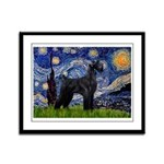 Starry Night / Schnauzer Framed Panel Print
