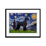 Starry Night / Schnauzer Framed Panel Print