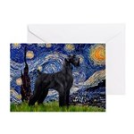 Starry Night / Schnauzer Greeting Card