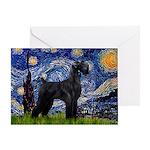 Starry Night / Schnauzer Greeting Card