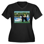 SCHNAUZER & SAILBOATS Women's Plus Size V-Neck Dar