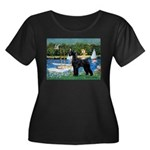 SCHNAUZER & SAILBOATS Women's Plus Size Scoop Neck