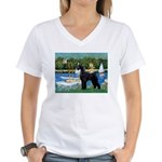 SCHNAUZER & SAILBOATS Women's V-Neck T-Shirt