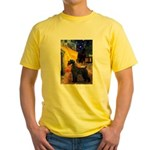 Cafe & Giant Schnauzer Yellow T-Shirt