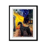 Cafe & Giant Schnauzer Framed Panel Print