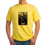 Mona Lisa /giant black Schnau Yellow T-Shirt