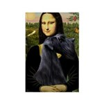 Mona Lisa /giant black Schnau Rectangle Magnet