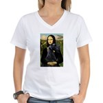 Mona Lisa /giant black Schnau Women's V-Neck T-Shi