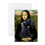 Mona Lisa /giant black Schnau Greeting Cards (Pk o