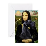 Mona Lisa /giant black Schnau Greeting Card