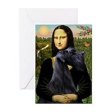 Mona Lisa /giant black Schnau Greeting Card