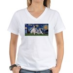 Starry Night / Min Schnauzer Women's V-Neck T-Shir