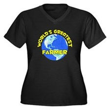 World's Greatest Farmer (D) Women's Plus Size V-Ne