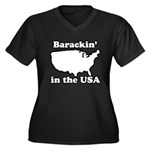 Barackin' in the USA Women's Plus Size V-Neck Dark