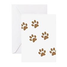 Brown Walk-On-Me Pawprints Greeting Cards (Pk of 1