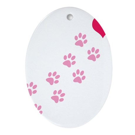 Pink Paw Prints To My Heart Oval Ornament