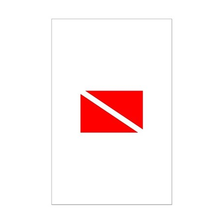 Diver Down Dive Flag Mini Poster Print