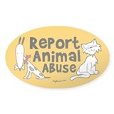 Report Animal Abuse Oval Decal