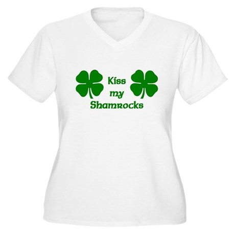 Kiss my Shamrocks Women's Plus Size V-Neck T-Shirt