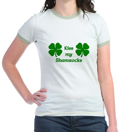 Kiss my Shamrocks Jr. Ringer T-Shirt
