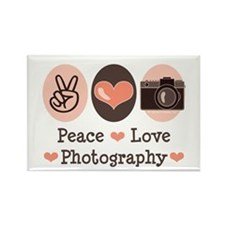 Peace Love Photography Camera Rectangle Magnet