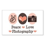 Peace Love Photography Camera Sticker (Rectangular
