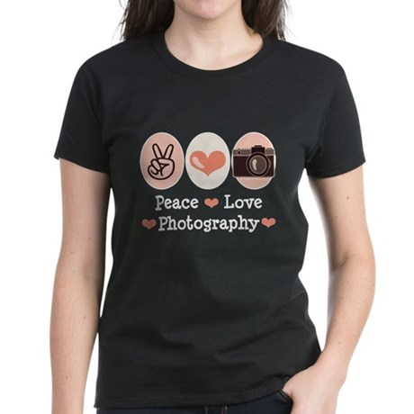 Peace Love Photography Camera Women's Dark T-Shirt