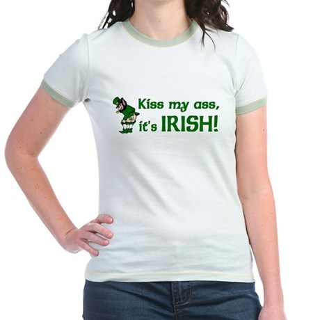 Kiss my Ass it's Irish Jr. Ringer T-Shirt