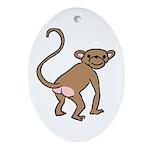 Cheeky Monkey Oval Ornament