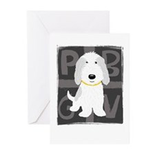 Grey & White PBGV Greeting Cards (Pk of 20)