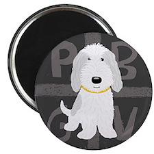 Grey & White PBGV Magnet