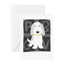 Grey & White PBGV Greeting Card