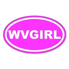 WV GIRL West Virginia Girl Pink Oval Bumper Stickers