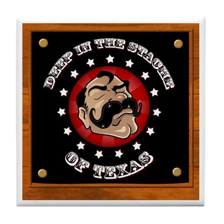 Texas Mustache Tile Coaster