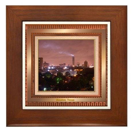 Houston Skyline #4 Framed Tile