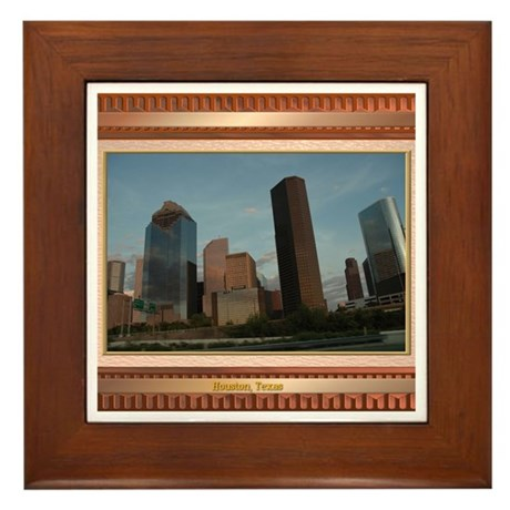 Houston Skyline #2 Framed Tile