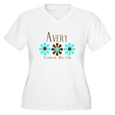 Avery - Blue/Brown Flowers T-Shirt