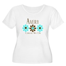 Avery - Blue/Brown Flowers T-Shirt