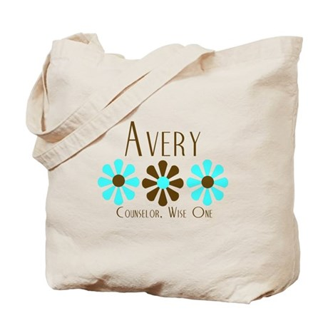 Avery - Blue/Brown Flowers Tote Bag
