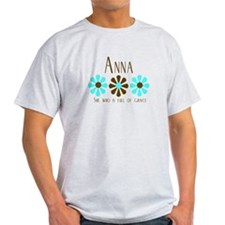Anna - Blue/Brown Flowers T-Shirt
