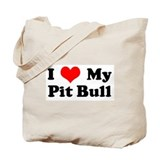 I Love My Pitbull Tote Bag